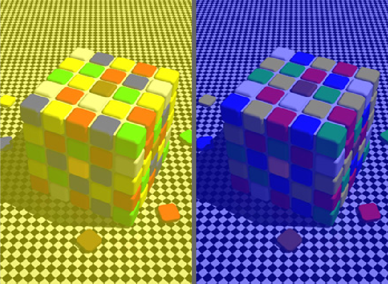 the magic hues cube that shows you that you are color blind...